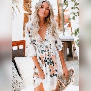 White Hawaiian Babydoll Floral Dress